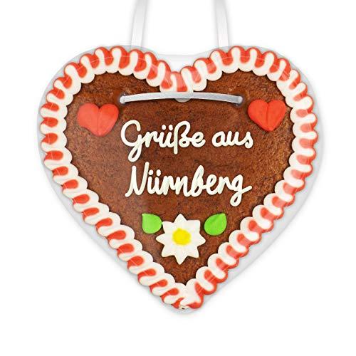 Lebkuchenherz 12cm mit Spruch - Grüße aus Nürnberg | Lebkuchen Give away | Geschenke & nette Grüße verschicken | Kleine Lebkuchenherzen bestellen | Lebkuchenherzen günstig kaufen von LEBKUCHEN WELT
