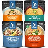 Fishpeople Wild Seafood Soup + Chowder Variety Pack, 10 ounce pouches (4 pack), Microwaveable, Gluten-Free, Packed with Protein and Omega-3s, BPA-free, Ready to Eat Wild-Caught Sustainable Seafood