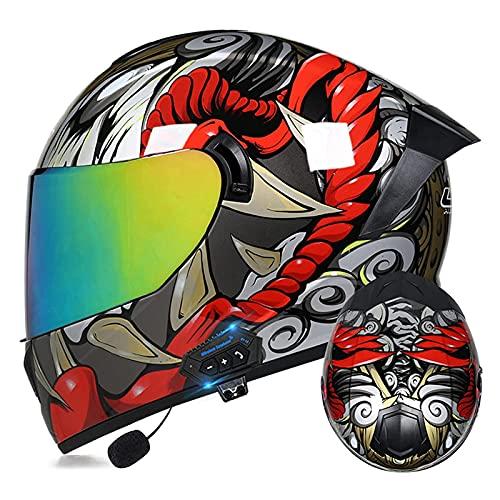 LIRONGXILY Casco Moto Modular Casco Integral Casco Moto Bluetooth Integrado Casco Modular con Doble Visera Casco Moto Jet para Hombre O Mujer ECE Homologado (Color : #16, Size : 57-58cm(M))