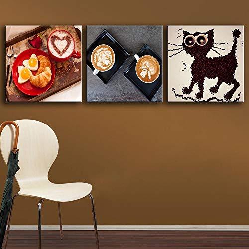 Goedemorgen Koffie Keuken Posters Liefde Ontbijt Moderne Muur Foto voor Woonkamer Hd Print Canvas Art Schilderij Home Decor 50x50cmx3 Geen Frame