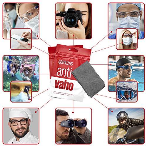 Gamuza DE MICROFIBRA antivaho. Toallita antivaho para gafas reutilizable debido al uso de mascarilla. Gamuza seca para 300 usos y con un efecto durante 14 horas. Paño seco limpia gafas antivaho.