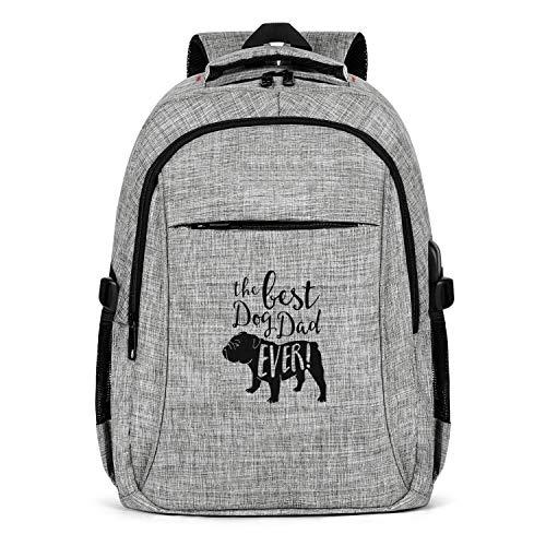 Men's Women's Backpacks Best Dog Dad Ever! with Bulldog Water Resistant Laptop Multifunctional Backpack Grey