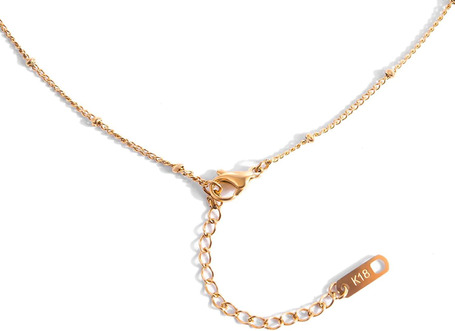 HIPBLING Cuban Link Chain Snake Choker Necklace 18K Real Gold Plated Herringbone Beaded Chain for Girl Women Dainty Jewelry Gift