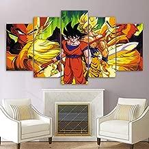 zysymx Cuadro de Pintura de Lienzo HD Impreso Wall Art Pictures 5 Piezas Animación Dragon Ball Super Hero Goku Poster Decoración para el hogar