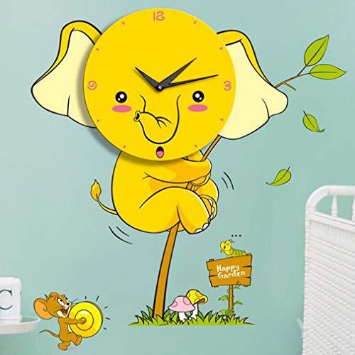 Adesivi murali elefante giallo Orologio da parete, decorazione creativa Camera dei bambini Personalità 3D Wallpaper