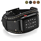 Coobes Compatible with Apple Watch Band 40mm 38mm Men Women Genuine Leather Compatible iWatch Bracelet Wristband Strap Compatible Apple Watch Series 5/4/3/2/1 (Crazy Horse Cuff Black, 40/38 mm)