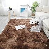 YUANYISHI Alfombra de pelo largo de seda y lana Tie-Dye de color degradado para dormitorio, salón, cama de noche, lavable, grande, marrón, 60 x 120 cm