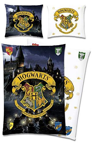 Harry Potter Wende-Bettwäsche Hogwarts 135 x 200 + 80 x 80 cm 100% Baumwolle Renforcé-Linon-Qualität Gryffindor Hufflepuff Ravenclaw Slytherin Ron Weasley Hermine deutsche Größe Reißverschluss