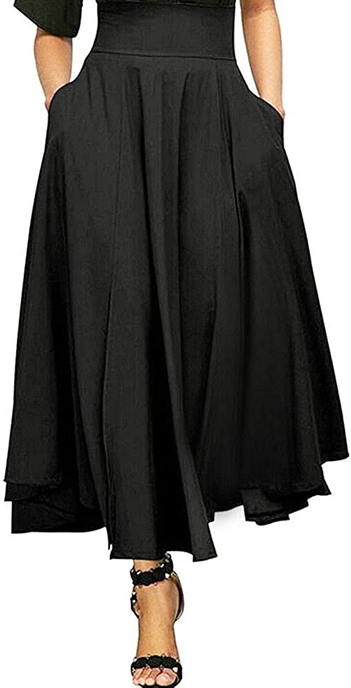 NP Women Cotton Long Skirts Elastic Waist Pleated Line Front Maxi-Skirts