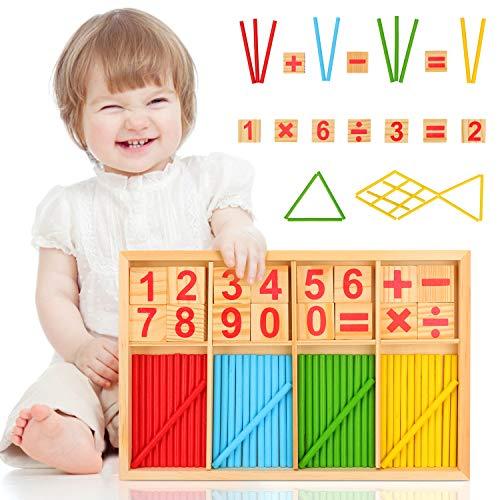 Sinwind Mathe Spielzeug Rechenstäbchen, Montessori Spielzeug Mathe, Rechnen Vorschule Mathematisches Spielzeug Holz, Zählstäbchen Montessori, Montessori Spielzeug Zahlen, Pädagogisches Mathe-Spielzeug