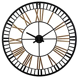 Wall Clocks Large Decorative, Big Oversized 32inches Round Silent Battery Operated Metal Clock for Home Living Room Kitchen