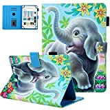 UGOcase Universal Case for 6.5-7.5 inch Tablet, PU Leather Colorful Magnetic Flip Stand Coverfor Galaxy Tab E 7.0/ Tab A 7.0/ Kindle Fire 7.0/ Lenovo/RCA & More 6.5-7.5 inch Tablet, Elephant & Flower