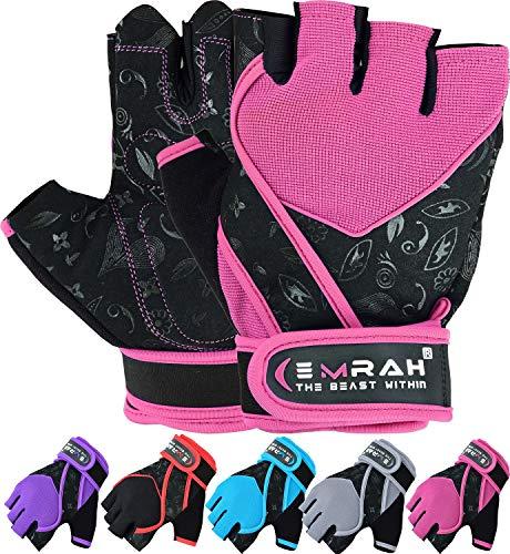 Guantes Emrah de mujer para gimnasio, levantamiento de pesas, entrenamiento y crossfit, con tejido transpirable y protección para la muñeca, color rosa, tamaño Small