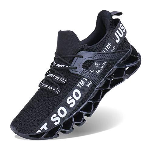 JSLEAP Schuhe Herren Fitness Laufschuhe Atmungsaktiv rutschfeste Mode Sneaker (2 Schwarz,Größe 45 EU/275 CN)