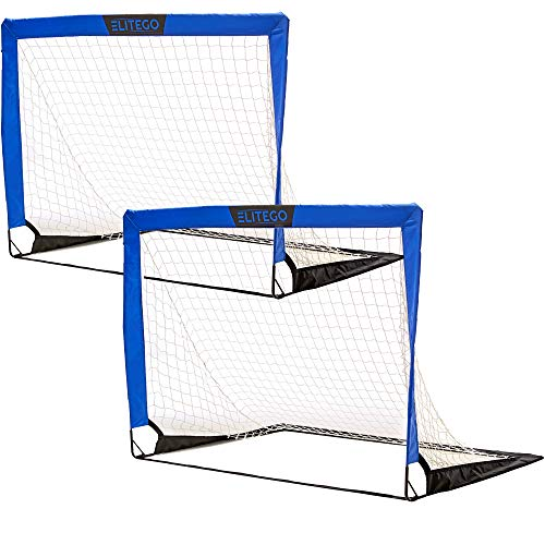 EliteGo Portable Soccer Goal | Instant Pop Up Net | Fiberglass Poles, Sets of 2 (Blue)