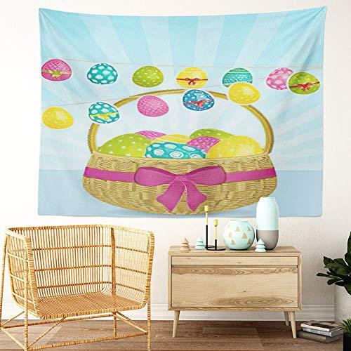 Y·JIANG Cesta de Pascua para colgar huevos de Pascua con decoración de dormitorio para el hogar, gran tapiz decorativo de pared, manta para colgar en la sala de estar, dormitorio, 80 x 60 pulgadas