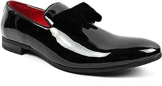 AZAR Tuxedo Slip Men's Dress Shoes Velvet Satin Bow On Top
