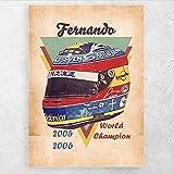 ZFLSGWZ Fernando Alonso Casco Arte De Pared Carteles Clásicos Imágenes Impresas En Lienzo para La Decoración del Hogar De La Sala De Estar-50X70Cm Sin Marco