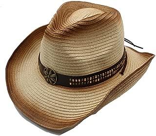 JAUROUXIYUJI New Summer Women Men Straw Western Cowboy Hat for Gentleman Adjused Size (Color : 3, Size : 58cm)