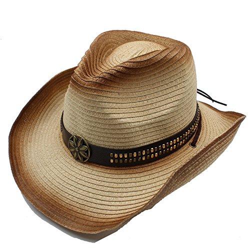 LQ-BNM Panamahut -Western Cowboyhoed, dames heren strohoed, Gentleman instelbare maat hoed 57-58 cm
