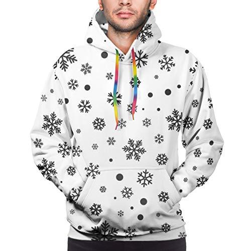 qingdaodeyangguo Custom Mens Hoodie Sweatshirt Pullover Snowflake Seamless Pattern Winter