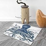 Octopus - Alfombra de Puerta, diseño de Pulpo con Sombras Tropicales, Marino,...