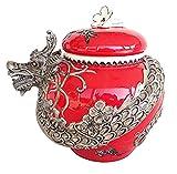Blue Sky Ceramic 17622 Dragon Cookie Jar, Red