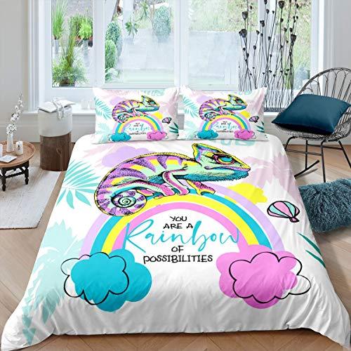 Loussiesd Juego de funda de edredón camaleón, diseño de hojas de arco iris, para niños, adolescentes, animales tropicales, juego de ropa de cama, 3 piezas, tamaño doble