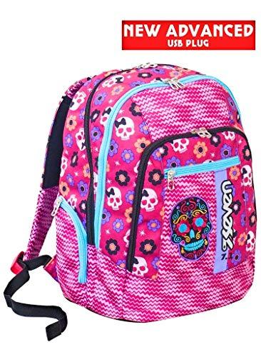Zaino scuola advanced SEVEN - MEXI GIRL - Rosa - 30 LT - inserti rifrangenti