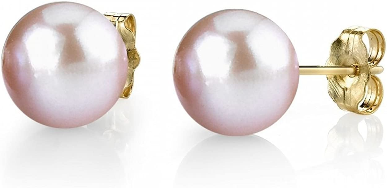 Pink Great interest Freshwater Cultured Pearl Earrings with El Paso Mall for Women 14K Gold