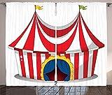 Waple Cortinas opacas ojete para sala de estar Cortinas de circo, circo retro con bandera, lugar de carnaval navideño nostálgico 280*300cm Cortinas Impresas 3D Foto Tela De Poliéster Reducción De Ruid