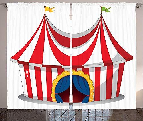 chinawh 3D Blackout Ösen Vorhang Zirkus Cartoon Show 170X200Cm Gardine Verdunklungsgardine Kälte Und Wärmeisolierung Verdunklungsgardine Für Wohnzimmer Kinderzimmer Schlafzimmer