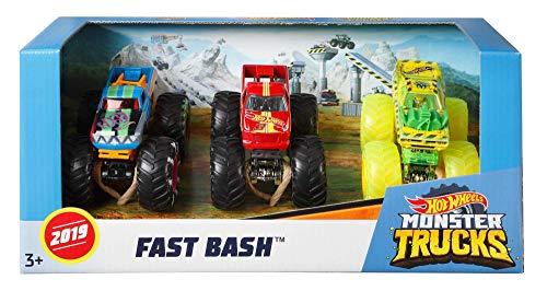 Hot Wheels GBP06-JA10- Monster Trucks Spielzeugauto 1:64 Die-Cast 3er Geschenkset #2, Spielzeug ab 3 Jahren, Farblich sortiert