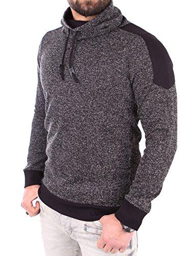 Reslad Herren Huge Collar Sweatshirt Pullover RS-105 (S, Anthrazit)