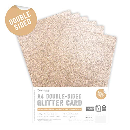 Dovecraft DCGCD037 Double Sided Glitter Pack Gold-300gsm, Rose Gold, A4