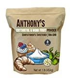 Anthony's Erythritol and Monk Fruit Powder Classic Powder, 1lb, 2 to 1 Powdered Sugar Substitute, Confectioner's Sweetener, Non GMO, Keto Friendly