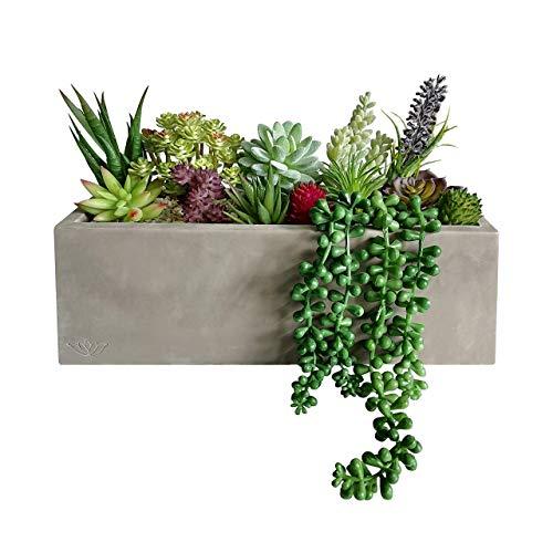 GreenBoxx - Fioriera artificiale per piante grasse da giardino, 16 pezzi, in cemento prefabbricato, per piante artificiali, per centrotavola, finestra, decorazione per matrimoni