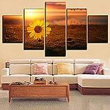 Marco de imagen de impresión HD 5 piezas artístico en arena Sunset Daisy Flower Poster Modular Painting Canvas Wall Art Decor Bedroom