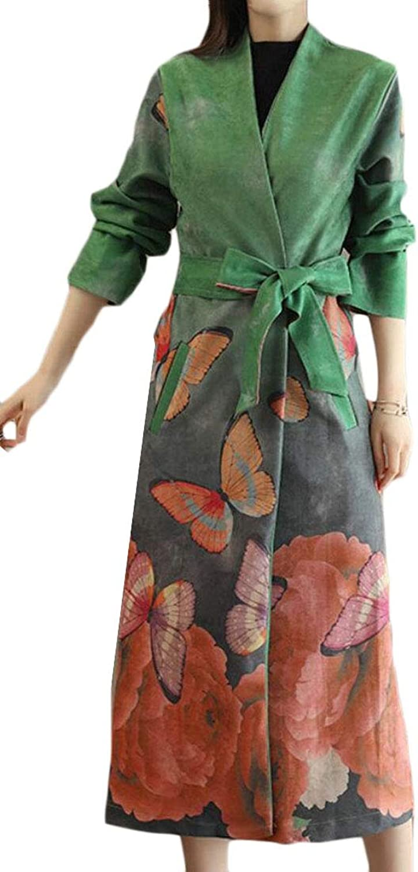 Jofemuho Women's Faux Suede Slim Fit Fall & Winter Print Mid Long Trenchcoat Jacket Coat