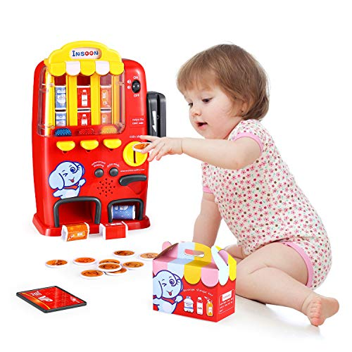 INSOON Interactive Vending Machine Toy Pretend Play Electronic Drink Machines Toddlers Toys for3 4 5...