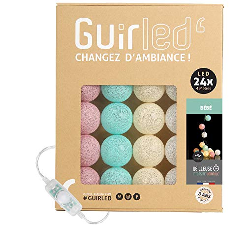 Guirnalda luminosa bolas de algodón LED USB- Luz de noche para bebé 2h - Adaptador de corriente dual USB 2A incluido - 3 intensidades - 24 bolas 4m - Bebé