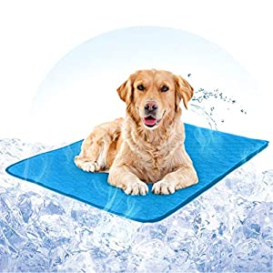 Hcman Gel Self Cooling Dog Mat – Pet Dog Cooling Gel Mat Pad Keeps Dogs and Cats Cool in Warm Weather, Pressure Activated, No Water or Electricity Needed
