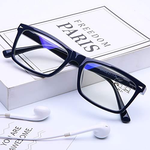 DOOVIC Blaulichtfilter Computer Lesebrille 1,0 - Blau/Rechteckig Rahmen Federscharnier Computerbrille mit Sehstärke für Herren/Damen
