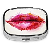 Square Pill Case With 2 Compartment Portable Lip Sexy Woman Lips Mouth Formed With Watercolor Red Lipstick Blots Doodle