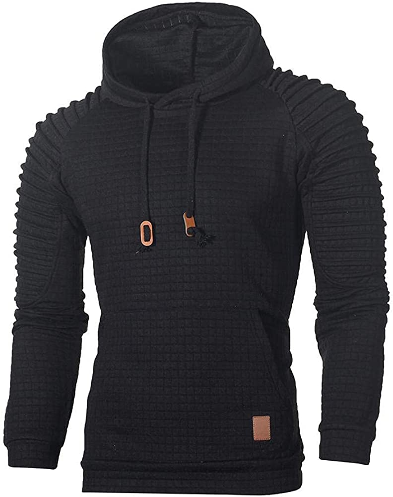Men Hoodies Drawstring with Pocket Athletic Casual Pullover Men's Square Hooded Long Sleeve Sweatshirt