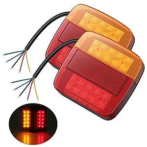 AUTOUTLET Luz Trasera para Remolque, 2 Luz de Matrícula 12 V, 2 Unidas LED Trasera Rojo y Ámbar Mutil-función Camión de Remolque con E mark, Compatible con Camión Van Caravana.
