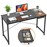 Foxemart Writing Computer Desk, 47' Modern Study Desk for Home Office, Simple Laptop Table with Drawer, Black and Espresso