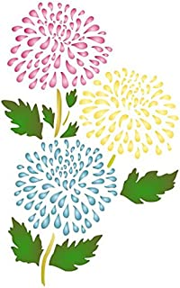"""Chrysanthemum Stencil - (size 6""""w x 9.5""""h) Reusable Wall Stencils for Painting - Best Quality Mum Wall Flower Stencil Ideas - Use on Walls, Floors, Fabrics, Glass, Wood, and More…"""