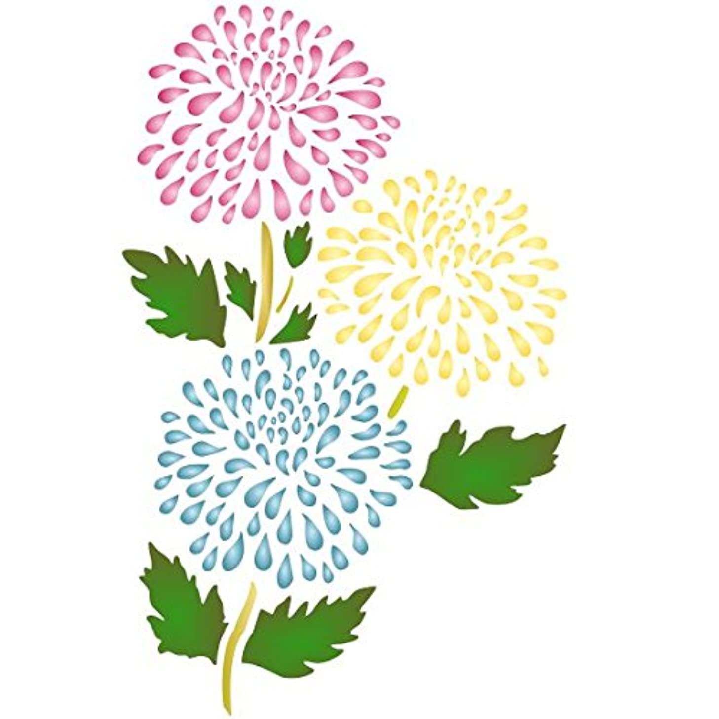 """Chrysanthemum Stencil - (size 6""""w x 9.5""""h) Reusable Wall Stencils for Painting - Best Quality Mum Wall Flower Stencil Ideas - Use on Walls, Floors, Fabrics, Glass, Wood, and More… oennwf7144567"""