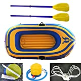 Inflatable Kayak 2 Person with Paddles and Pump Inflatable Boat Set Tear-Resistant Foldable Drifting Boat for Water Sports Pool Fishing Rafting